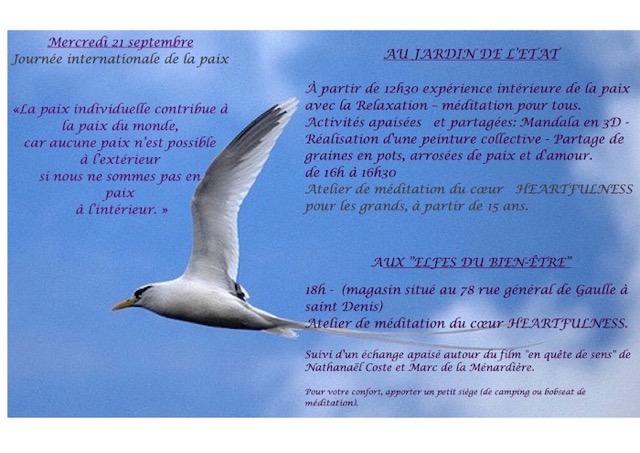 Journée internationale de la Paix, à Saint-Denis de la Réunion